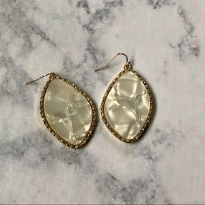 Gold & White Opalescent Dangle Earrings